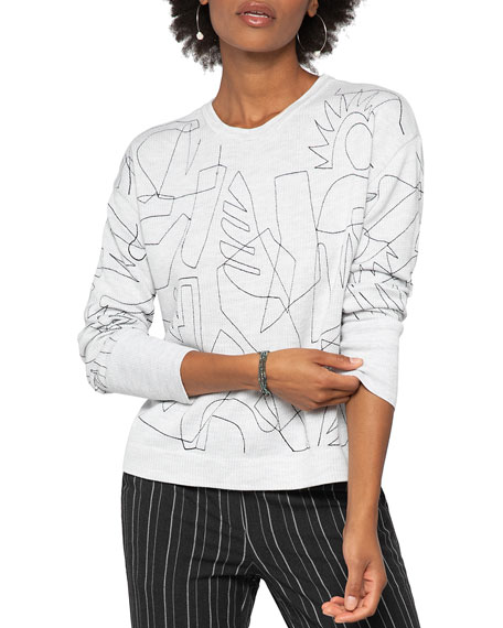 Image 5 of 5: NIC+ZOE Embroidered Long-Sleeve Sweater