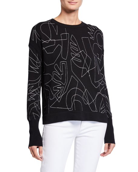 NIC+ZOE Plus Size Embroidered Long-Sleeve Sweater