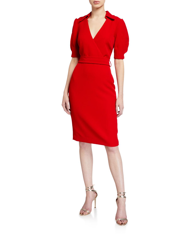 Badgley Mischka Elbow-Sleeve Crepe Tie Dress
