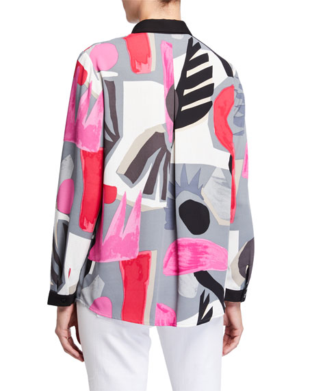 Image 3 of 3: NIC+ZOE Petite Masterpiece Print Button-Front Easy Shirt