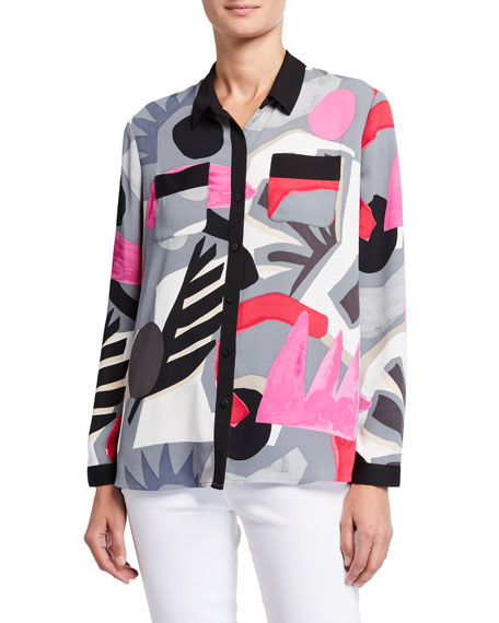 Image 1 of 3: NIC+ZOE Petite Masterpiece Print Button-Front Easy Shirt
