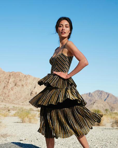 Dress The Population Kathy Metallic Stripe Tiered Hem Ruffle Dress
