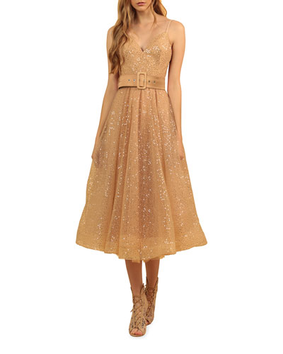 Cindy Shimmery Fit-&-Flare Midi Dress