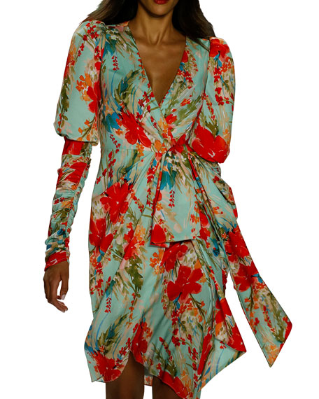 Badgley Mischka Collection Floral Balloon-Sleeve Dress with Side-Bow Dress