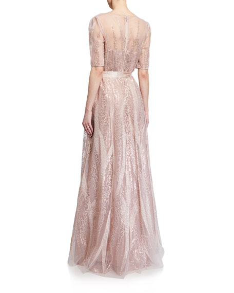 Image 3 of 3: Rickie Freeman for Teri Jon Embroidered Tulle Elbow-Sleeve Gown