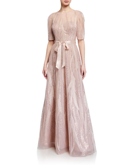 Image 1 of 3: Rickie Freeman for Teri Jon Embroidered Tulle Elbow-Sleeve Gown