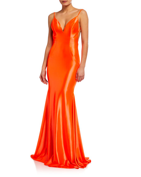Jovani Fluid Slip Gown with Shirred Back Detail