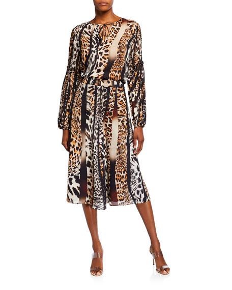 Kobi Halperin Bari Animal-Print Silk Skirt