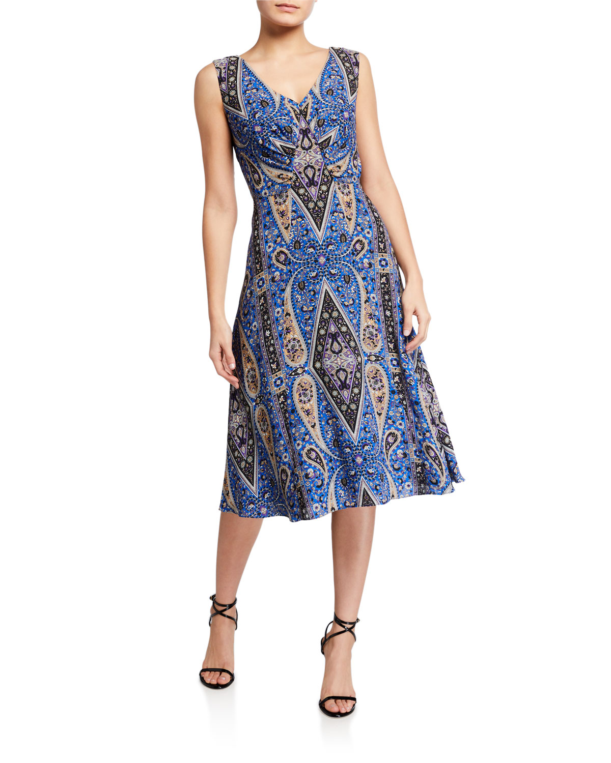 Kobi Halperin Meri Paisley Sleeveless A-Line Dress