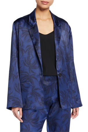 ATM Anthony Thomas Melillo Printed Satin Single-Breasted Blazer