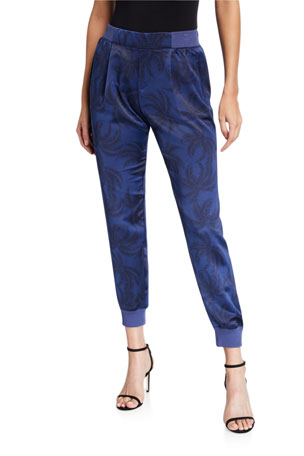 ATM Anthony Thomas Melillo Palm-Print Satin Pull-On Pants