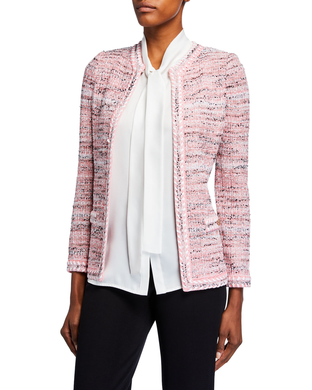 Misook Petite Tweed Jacket w/ Trim Detail