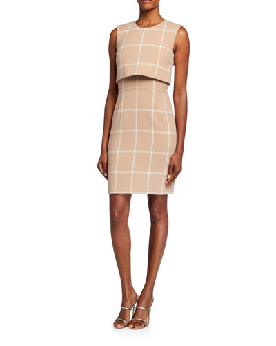Overlay Check Sheath Dress
