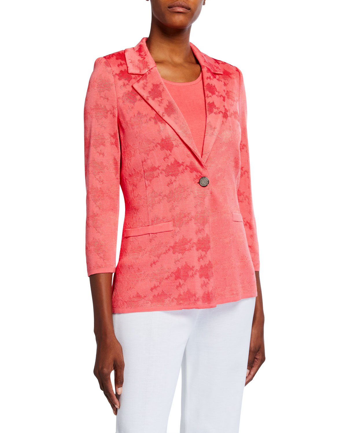 Misook Plus Size Textured One-Button Jacket
