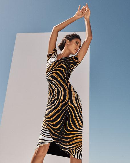 Chiara Boni La Petite Robe Ajak Printed Short-Sleeve Shirred Dress