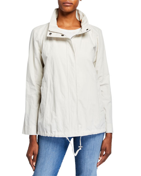 Eileen Fisher Plus Size Stand Collar Zip-Front Organic Cotton Jacket
