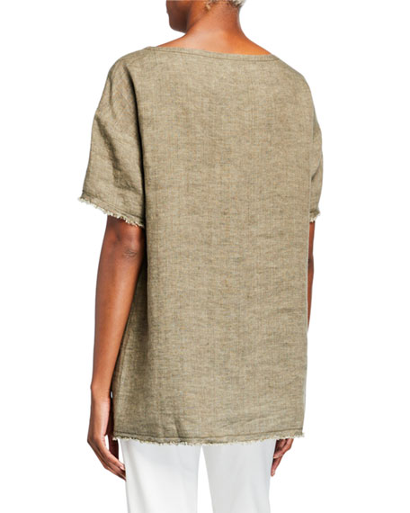 Eileen Fisher Washed Organic Linen Short-Sleeve Delave Tunic w/ Pocket