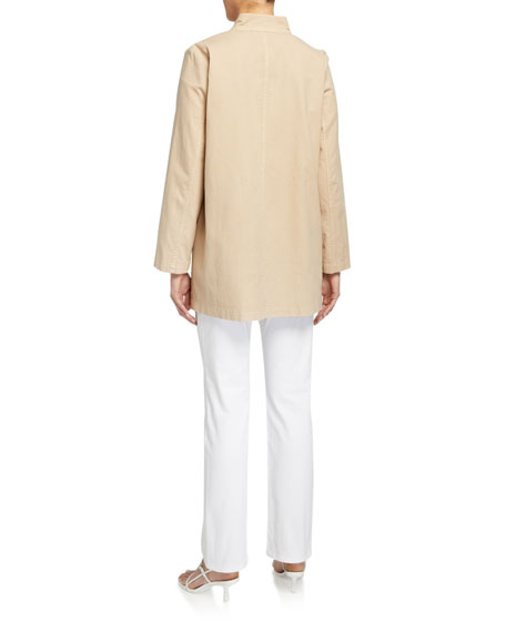 Eileen Fisher Petite Stand-Collar Button-Front Canvas Jacket