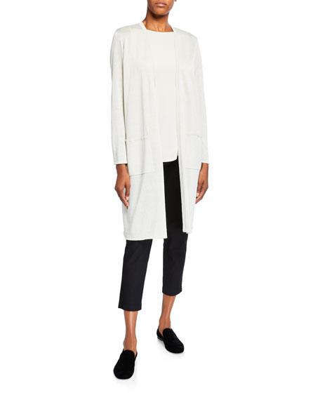 Eileen Fisher Sparkle Crepe Organic Linen Long Cardigan