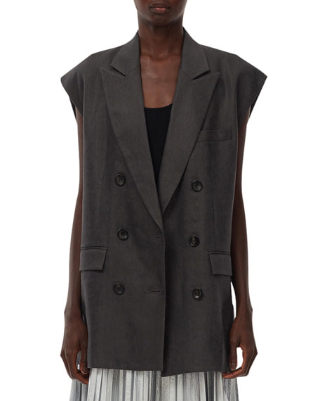 Tibi Wesson Linen Double-Breasted Vest