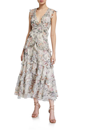 Bardot Nelly Floral Ruffle Midi Dress