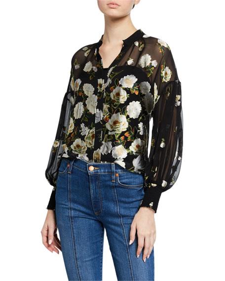 Alice + Olivia Pura Mandarin-Collar Cuffed Button-Down Blouse