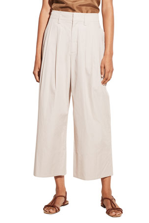 Vince Pleated Wide-Leg Cropped Pants