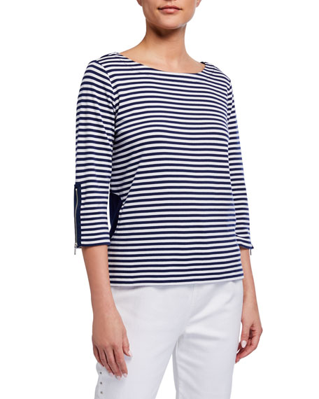 Joan Vass Striped 3/4-Sleeve Top w/ Circle Pockets