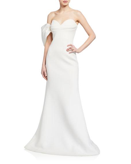 Badgley Mischka Collection Asymmetric Bow Strapless Scuba Gown