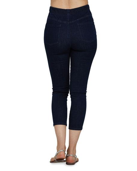 Joan Vass Studded Pull-On Denim Jeans