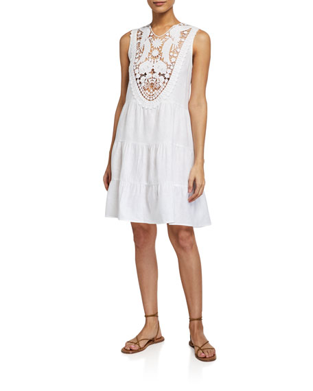 Miguelina LUCE SLEEVELESS DRESS W/ EMBROIDERED LACE