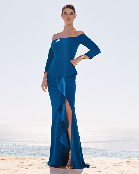 Image 2 of 3: Carmen Marc Valvo Infusion Off-the-Shoulder 3/4-Sleeve Asymmetric Side Ruffle Gown