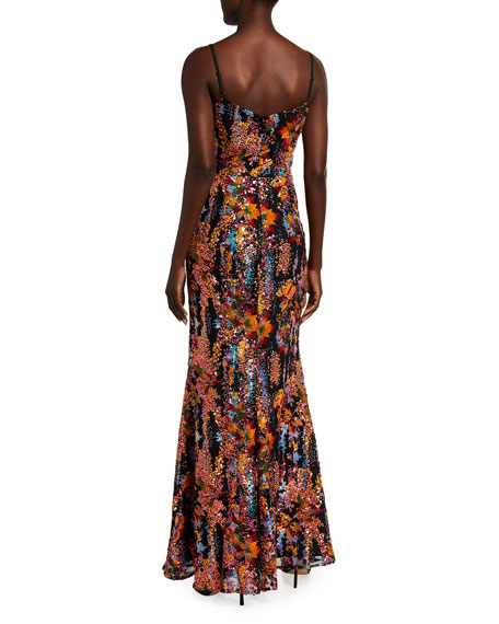 Image 2 of 2: Dress The Population Giovanna Floral Sequin Bustier Column Gown