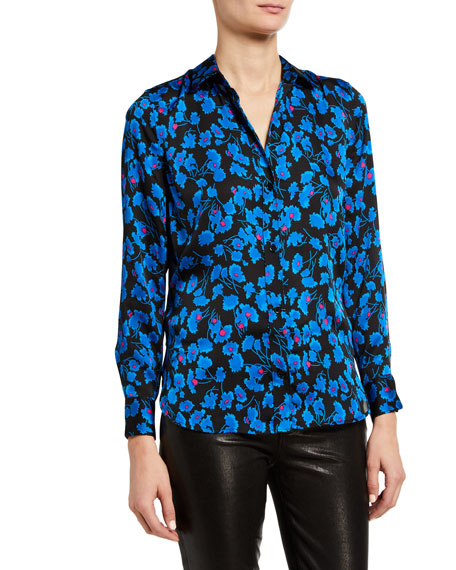 Image 3 of 4: Leema Floral Print Button-Down Blouse
