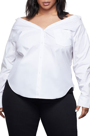 Good American Off-Shoulder Collared Shirt - Inclusive Sizing