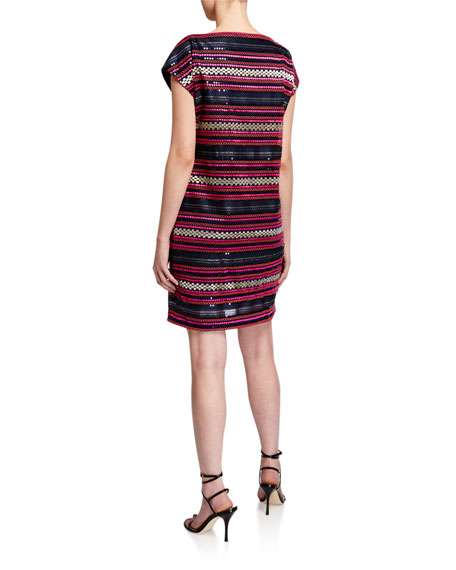 Image 3 of 3: Trina Turk Breene Sequin Stripe Cap-Sleeve Shift Dress