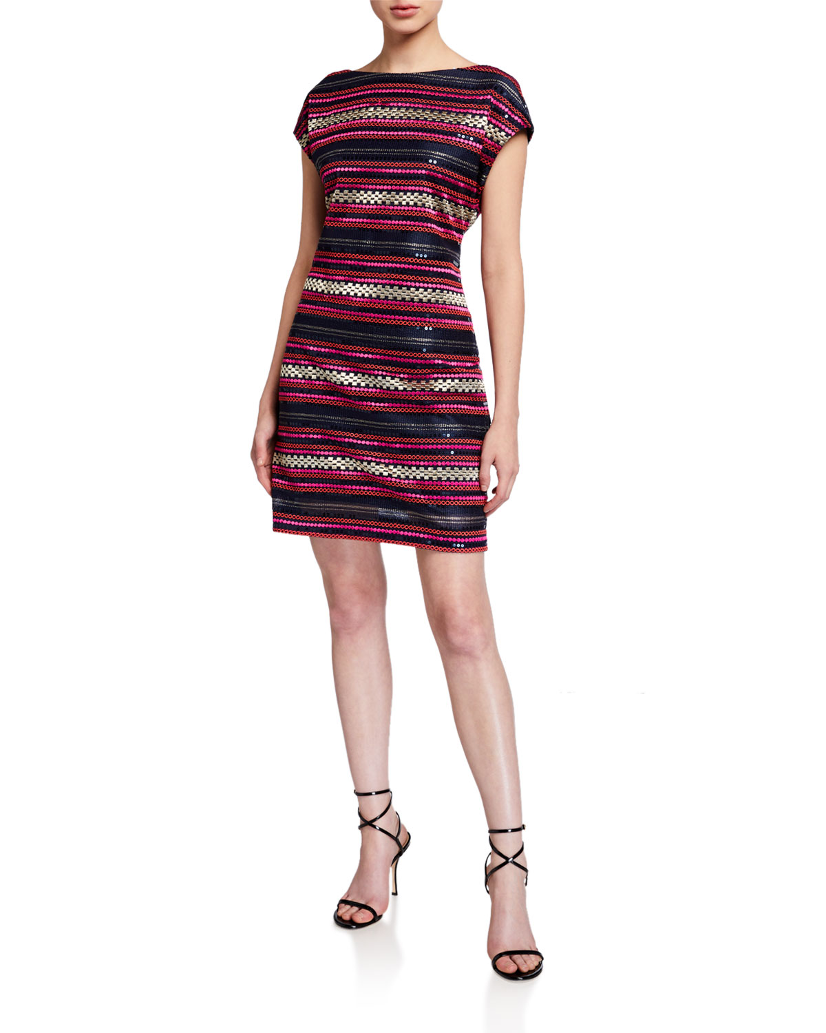 Trina Turk Breene Sequin Stripe Cap-Sleeve Shift Dress