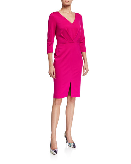 Image 1 of 2: Trina Turk Sable 3/4-Sleeve Gathered Ponte Dress