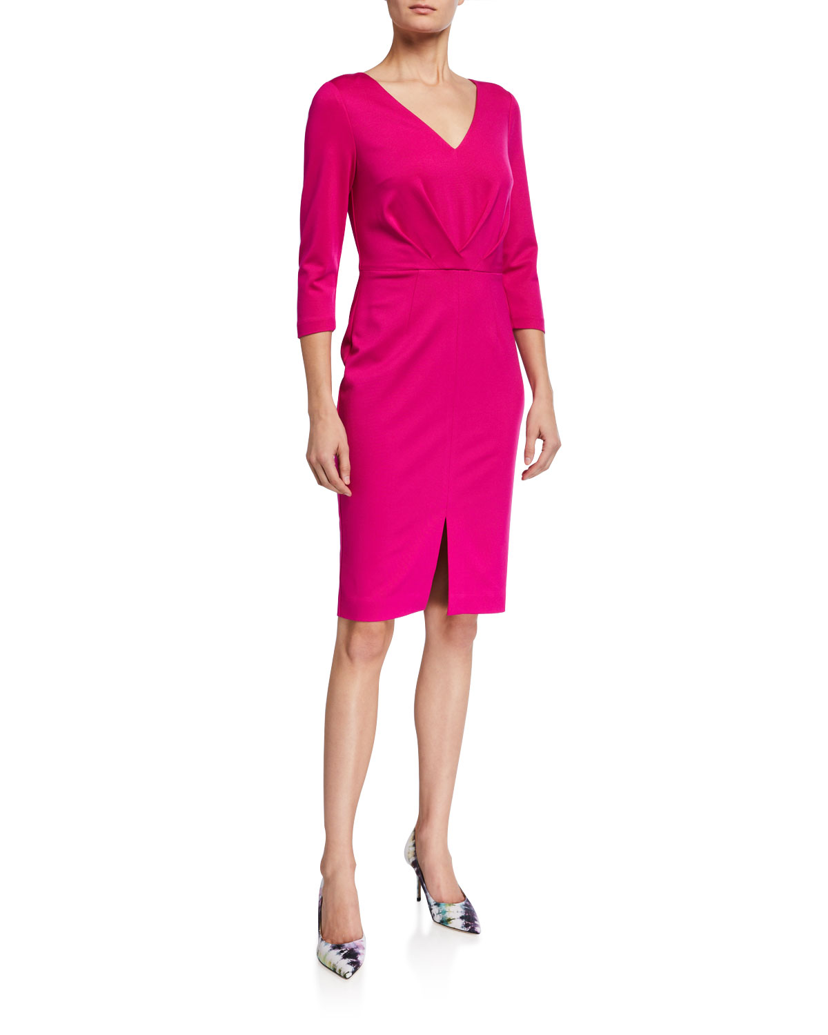 Trina Turk Sable 3/4-Sleeve Gathered Ponte Dress