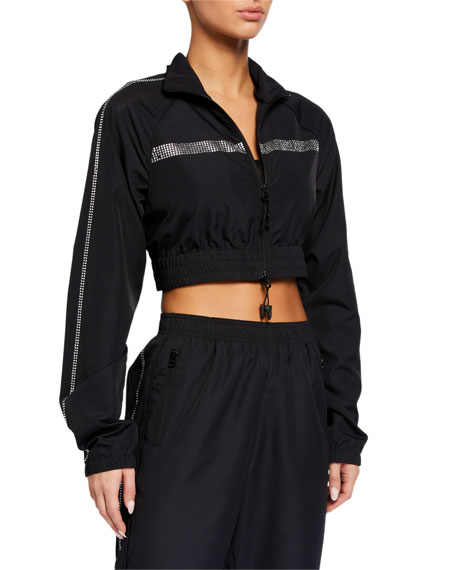 Adam Selman Sport Cropped Crystal Embellished Track Jacket