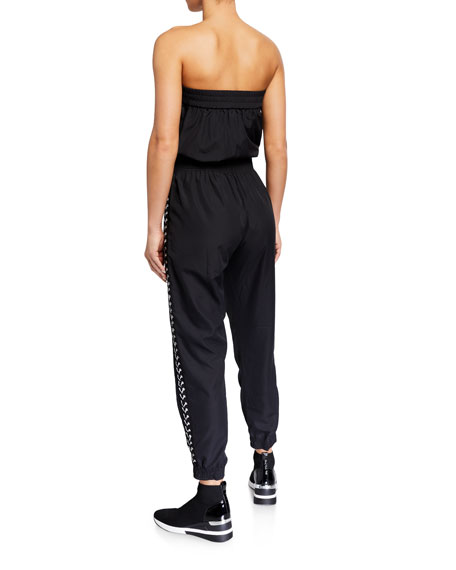 Adam Selman Sport Strapless Lace Up Tracksuit