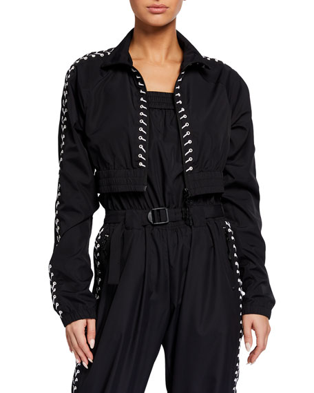 Adam Selman Sport Lace-Up Water-Resistant Track Jacket