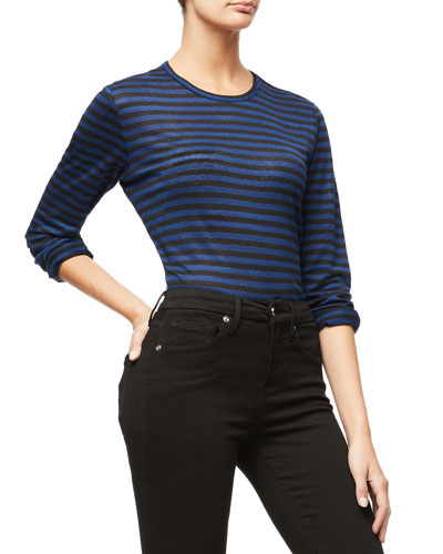 Long-Sleeve Striped Crew Top - Inclusive Sizing