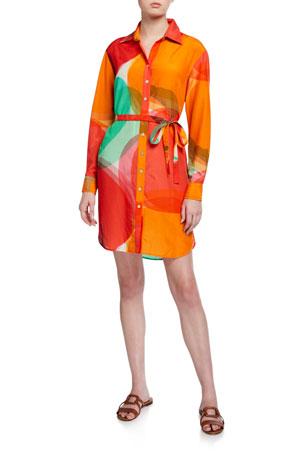Finley Petite Carter Abstract Apple Shirt Dress w/ Waist Tie