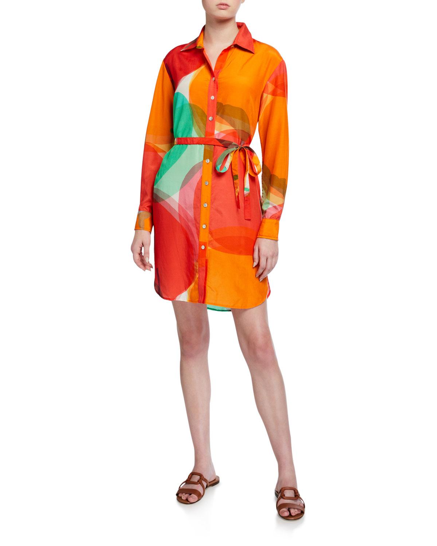 Finley Plus Size Carter Abstract Apple Shirt Dress w/ Waist Tie
