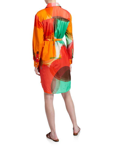 Finley Carter Abstract Apple Shirt Dress w/ Waist Tie