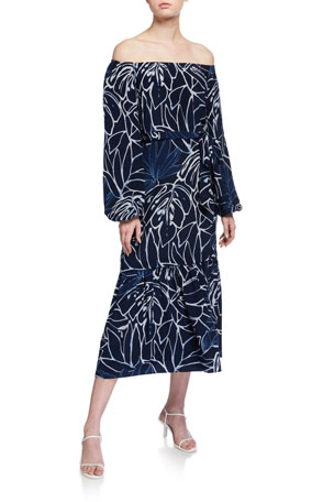 Lafayette 148 New York Aurora Reverse Porcelain Print Off-the-Shoulder Silk Dress