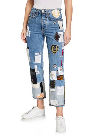 Rag & Bone Patchwork Straight-Leg Jeans