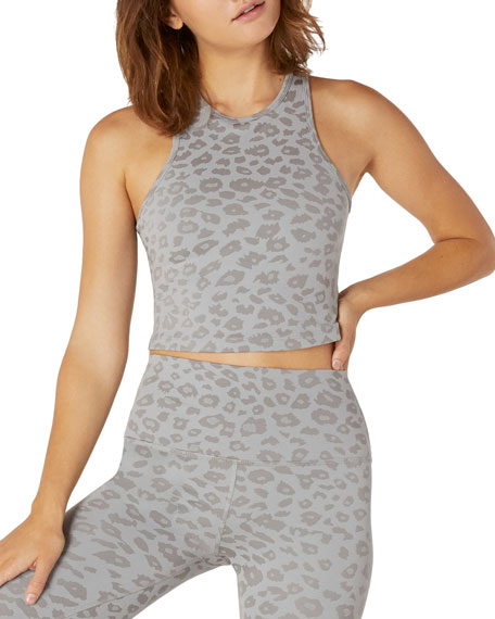 Image 1 of 2: Beyond Yoga Leopard-Print Studio Cropped Tank