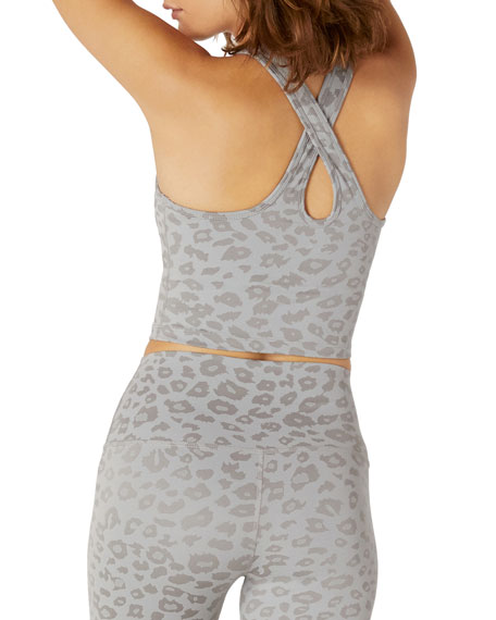 Image 2 of 2: Beyond Yoga Leopard-Print Studio Cropped Tank